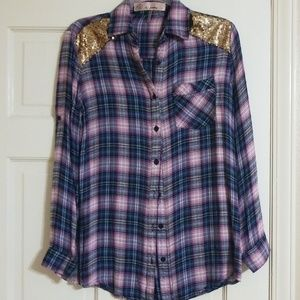 Flannel shirt with sequins